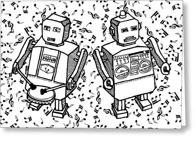 Beat Bot - Robots Greeting Card by Karl Addison