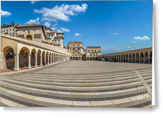 Historic Architecture Greeting Cards - Beatiful panoramic view of Lower Plaza near famous Basilica of S Greeting Card by JR Photography
