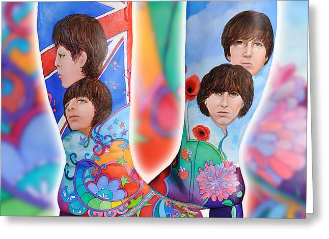 Peter Max Greeting Cards - Beatle Boots Greeting Card by Mary Johnson