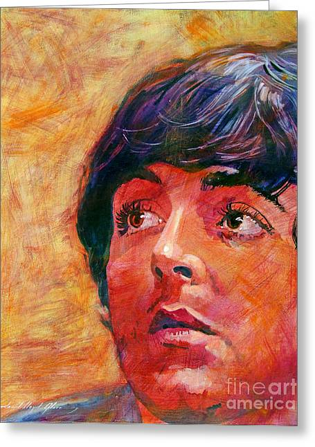 Beatles Paintings Greeting Cards - Beatle Paul Greeting Card by David Lloyd Glover