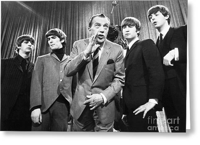 Johns Greeting Cards - Beatles And Ed Sullivan Greeting Card by Granger