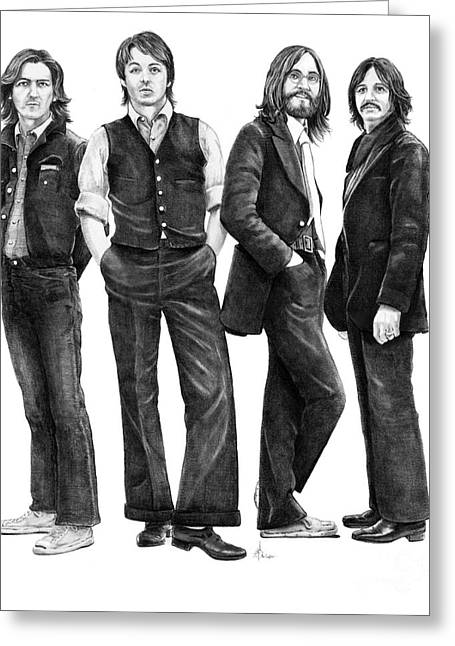 (murphy Elliott) Drawings Greeting Cards - Beatles Drawing Greeting Card by Murphy Elliott