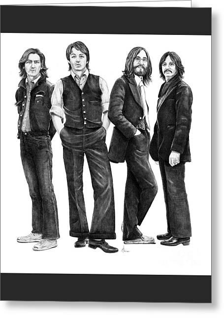 Beatles Drawing Greeting Card by Murphy Elliott