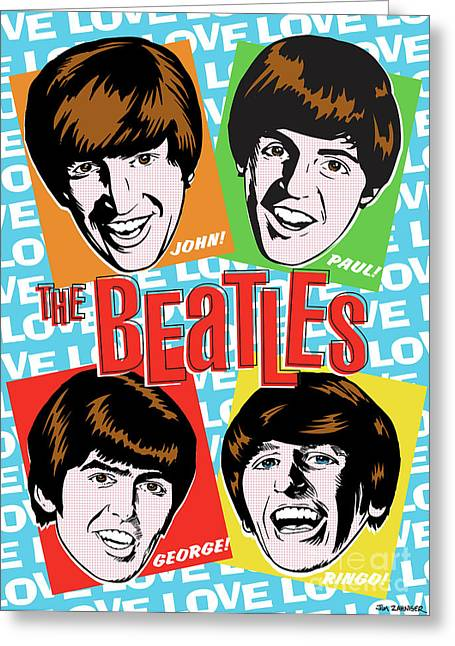 Beatles John Lennon Paul Mccartney George Harrison Ringo Starr Music Rock Icon Greeting Cards - Beatles Pop Art Greeting Card by Jim Zahniser