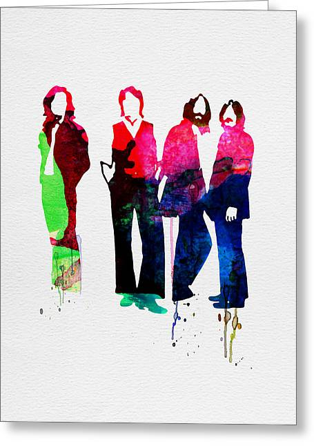 Pop Singer Greeting Cards - Beatles Watercolor Greeting Card by Naxart Studio
