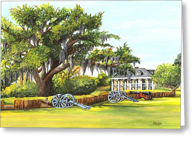Civil War .tree Greeting Cards - Beauregard House Greeting Card by Elaine Hodges