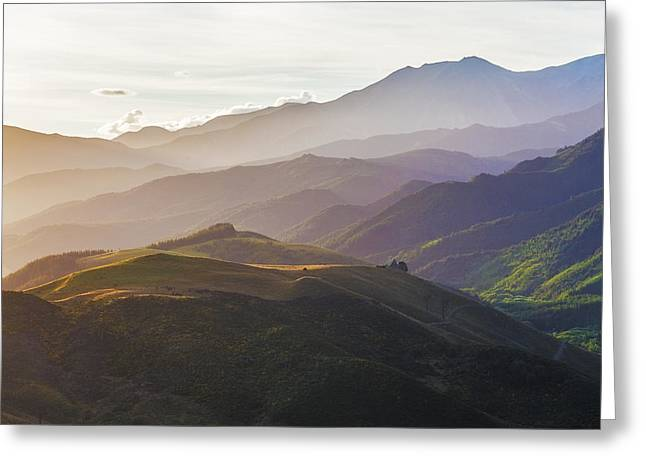 Mountain Valley Greeting Cards - Beauriful hills of Canterbury near Hanmer Springs at sunset New Greeting Card by Greg Brave