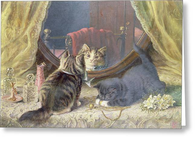 Playful Kitten Greeting Cards - Beauties Toilet Greeting Card by Horatio Henry Couldery
