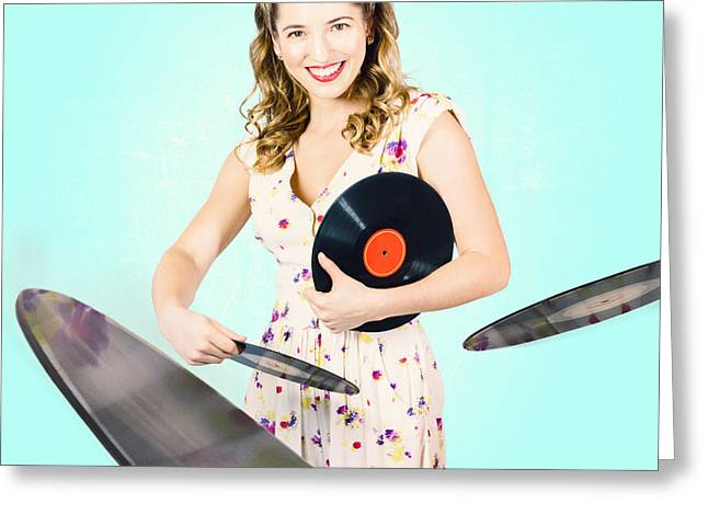 70s Music Greeting Cards - Beautiful 70s DJ pinup girl with record music disc Greeting Card by Ryan Jorgensen