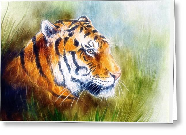 Royal Art Greeting Cards - Beautiful Airbrush Painting Of A Mighty Fierce Tiger Head On A Soft Toned Abstract Gres Background  Greeting Card by Jozef Klopacka