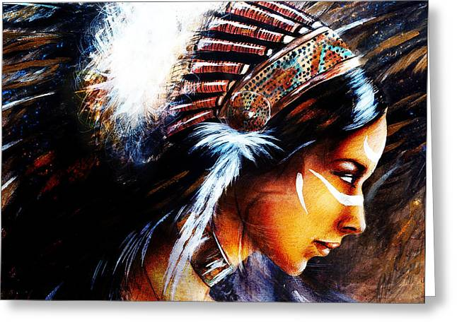 Native American Spirit Portrait Greeting Cards - Beautiful Airbrush Painting Of A Young Indian Woman Wearing  Greeting Card by Jozef Klopacka