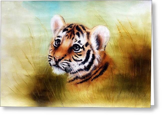 Royal Art Greeting Cards - Beautiful Airbrush Painting Of An Adorable Baby Tiger Head Looking Out From A Green Grass Surroundin Greeting Card by Jozef Klopacka