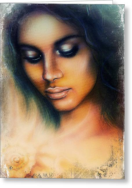 Seashell Picture Digital Greeting Cards - Beautiful Airbrush Portrait Of A Young Indian Woman With Closed Eyes Meditating Upon A Spiraling Sea Greeting Card by Jozef Klopacka