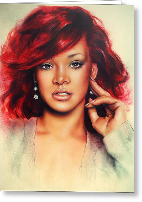 Rihanna Paintings Greeting Cards - beautiful airbrush portrait of Rihanna with red hair and a face close up Greeting Card by Jozef Klopacka
