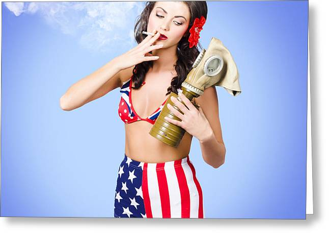 Post Disaster Greeting Cards - Beautiful American army pin-up girl Greeting Card by Ryan Jorgensen