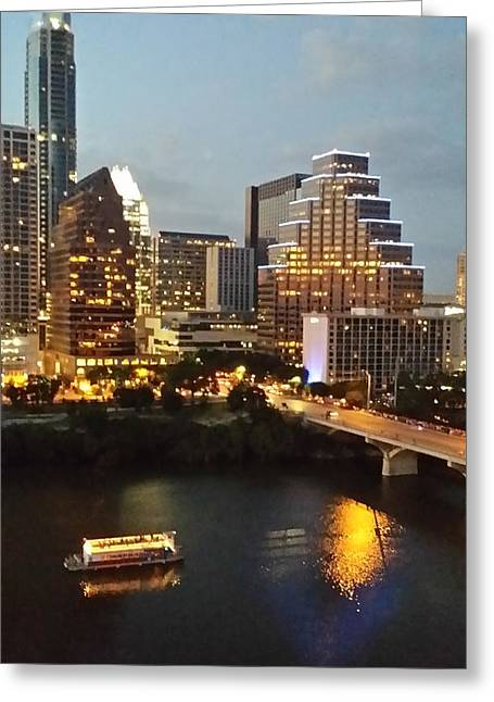 Austin. Bats Greeting Cards - Beautiful Austin at Night Greeting Card by Doreen Whitelock