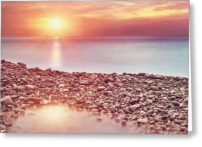 Panoramic Ocean Greeting Cards - Beautiful beach landscape on sunset Greeting Card by Anna Omelchenko