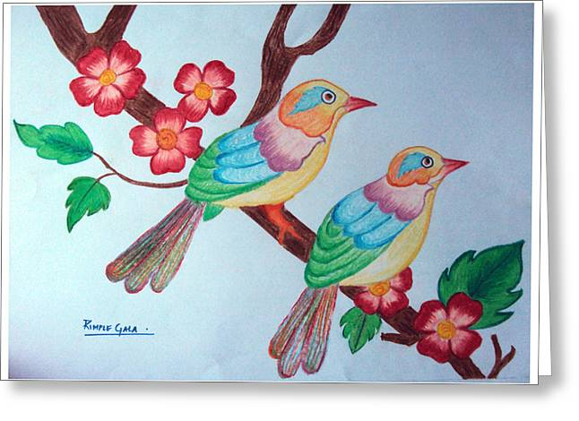 Bird On Tree Pastels Greeting Cards - Beautiful Birds Greeting Card by Rimple Gala