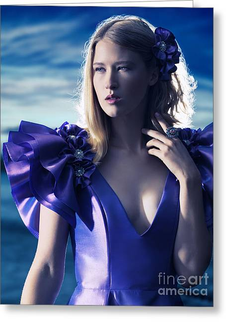 Evening Dress Greeting Cards - Beautiful blond woman in blue dress beauty portrait Greeting Card by Oleksiy Maksymenko