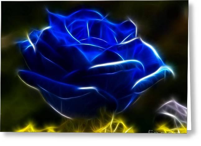 Beautiful Blue Rose Greeting Card by Pamela Johnson