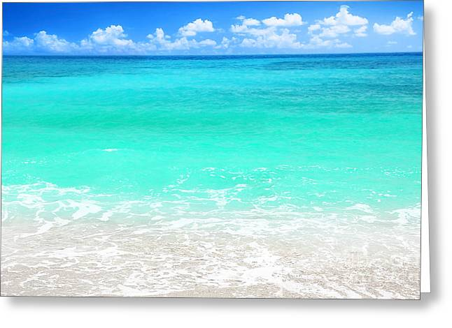 Beach View Greeting Cards - Beautiful blue sea beach Greeting Card by Anna Omelchenko