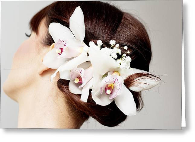 Eyelash Greeting Cards - Beautiful bridal hair style Greeting Card by Newnow Photography By Vera Cepic