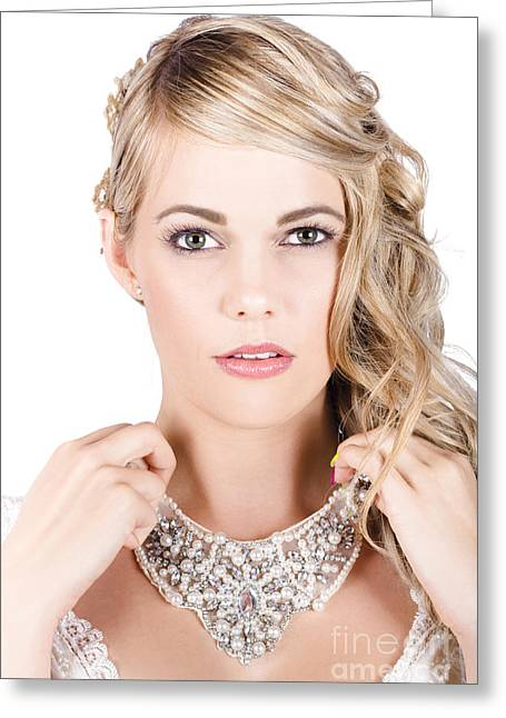 Beautiful Bride Holding Necklace Greeting Card by Jorgo Photography - Wall Art Gallery