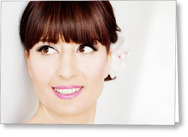 Eyelash Greeting Cards - Beautiful bride with bangs face closeup Greeting Card by Newnow Photography By Vera Cepic