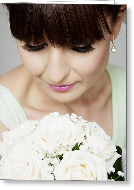 Eyelash Greeting Cards - Beautiful bride with her bouquet closeup Greeting Card by Newnow Photography By Vera Cepic
