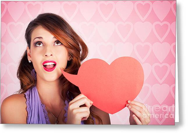 Speech Bubble Greeting Cards - Beautiful Brunette Woman Shouting Out Love Message Greeting Card by Ryan Jorgensen