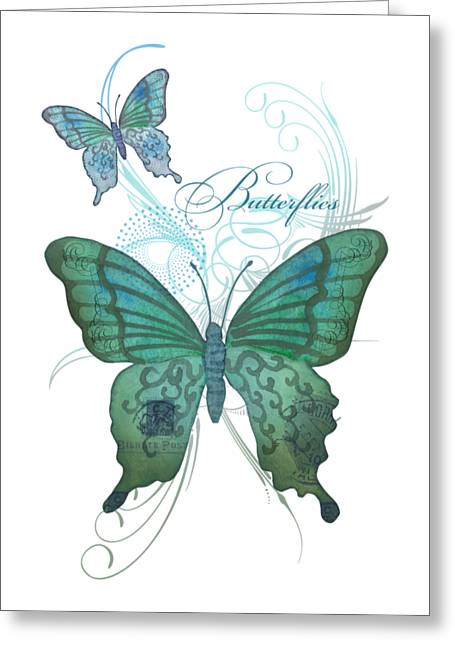 Fashionista Greeting Cards - Beautiful butterflies n Swirls Modern Style Greeting Card by Audrey Jeanne Roberts