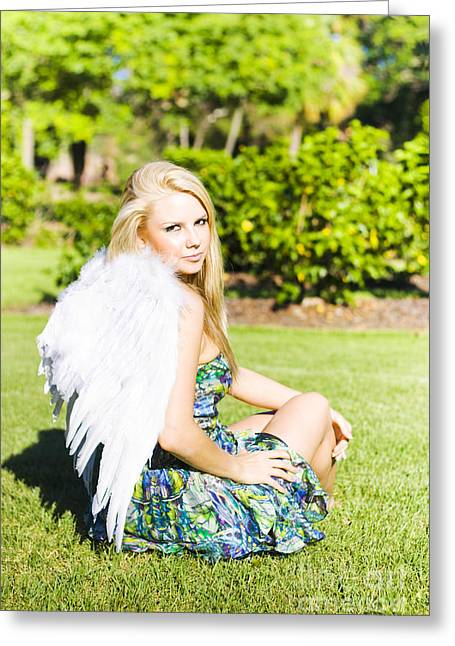 Cherubic Greeting Cards - Beautiful Celestial Angel Greeting Card by Ryan Jorgensen