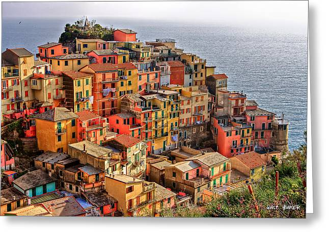 Italian Sunset Greeting Cards - Beautiful Cinque Terre Greeting Card by Walt  Baker