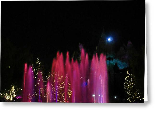 Photographs With Red. Mixed Media Greeting Cards - Beautiful Colored Fountains Greeting Card by John Malone