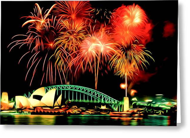 4th July Paintings Greeting Cards - Beautiful Colorful Holiday Fireworks 2 Greeting Card by Lanjee Chee