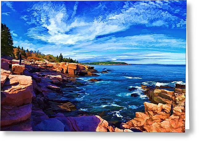 Panoramic Ocean Digital Greeting Cards - Beautiful Day at Acadia - Painterly Greeting Card by Bill Caldwell -        ABeautifulSky Photography