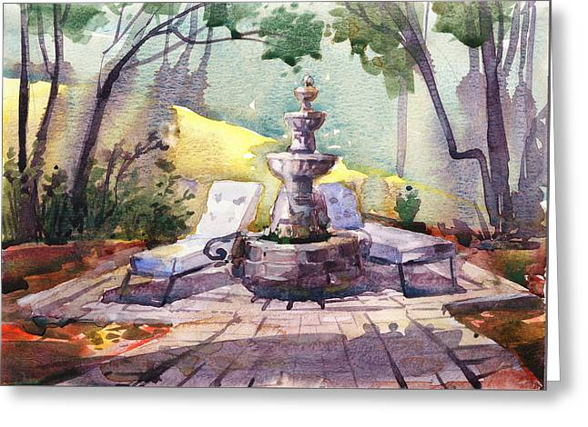 Fountain Greeting Cards - Beautiful Day, home Greeting Card by Kristina Vardazaryan