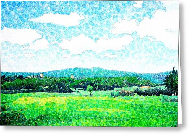 Geometric Shape Mixed Media Greeting Cards - Beautiful Day in Tuscany  Greeting Card by Jason Charles Allen