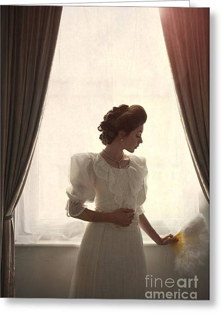 Ostrich Fan Greeting Cards - Beautiful Edwardian Woman At The Window Greeting Card by Lee Avison
