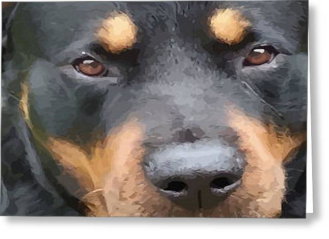 Owner Digital Art Greeting Cards - Beautiful Female Rottweiler Portrait Vector Greeting Card by Tracey Harrington-Simpson