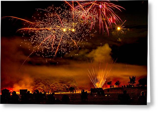 Haybales Greeting Cards - Beautiful Fireworks Greeting Card by Robert Bales
