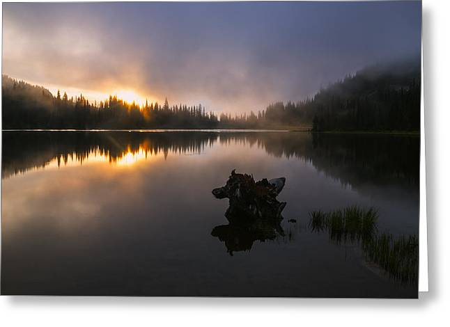 Reflections Of Sky In Water Greeting Cards - Beautiful foggy sunrise at Reflection Lake Greeting Card by Vishwanath Bhat