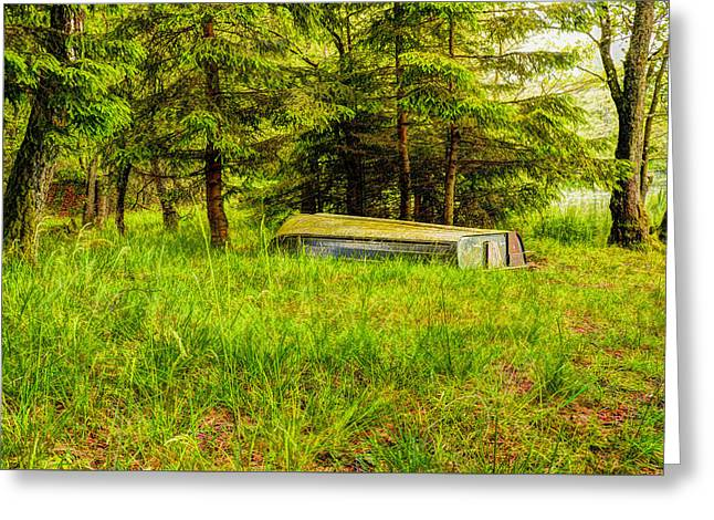 Desperate Greeting Cards - Beautiful forest and boat Greeting Card by Toppart Sweden