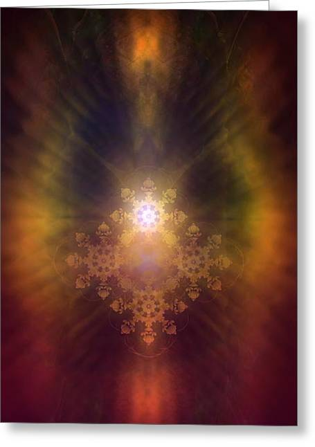 Geometric Artwork Greeting Cards - Beautiful Fractal Ornament Radiating White Light And Colorful Auric Lights  Greeting Card by Jozef Klopacka