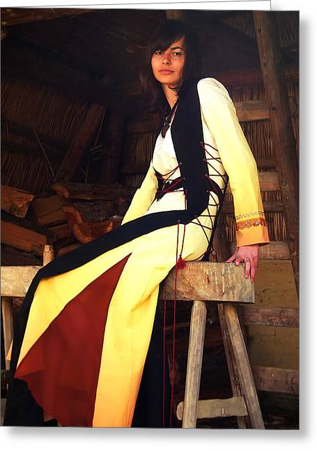 Log Cabins Greeting Cards - Beautiful Girl In A Historical Costume Sitting On A Wooden Bench Inside A Forest Cabin Greeting Card by Jozef Klopacka