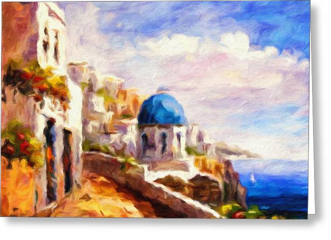 Domes Mixed Media Greeting Cards - Beautiful Greece Greeting Card by Georgiana Romanovna