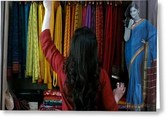 Facination Greeting Cards - Beautiful Indian Women Expensive Women s fashion Silk Silken Sarees from Mysore spepciality of Benga Greeting Card by Navin Joshi