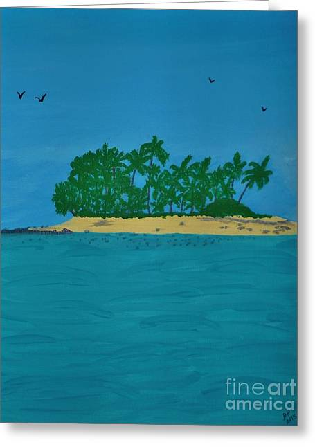 Abstract Beach Landscape Greeting Cards - Beautiful Island Greeting Card by D Hackett