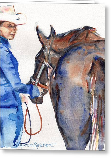 Quarter Horse Greeting Cards - Black Horse in watercolor Beautiful Greeting Card by Maria