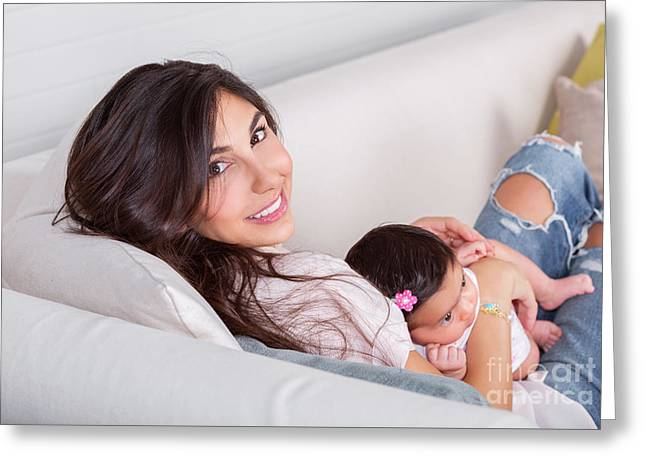 Caring Mother Greeting Cards - Beautiful mom with little daughter Greeting Card by Anna Omelchenko